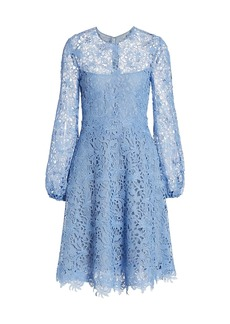 Lela Rose Guipure Lace Fit-&-Flare Dress