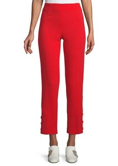 Lela Rose High-Rise Straight-Leg Button-Cuff Wool-Blend Pants