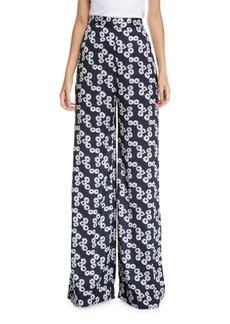 Lela Rose High-Waist Wide-Leg Floral-Print Pants