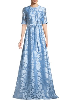 Lela Rose Holly Elbow-Sleeve A-Line Floral-Jacquard Evening Gown