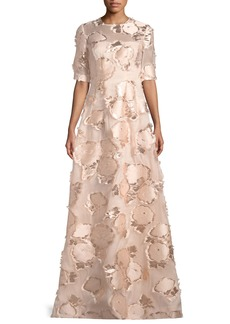 Lela Rose Holly Elbow-Sleeve Embroidered A-Line Evening Gown