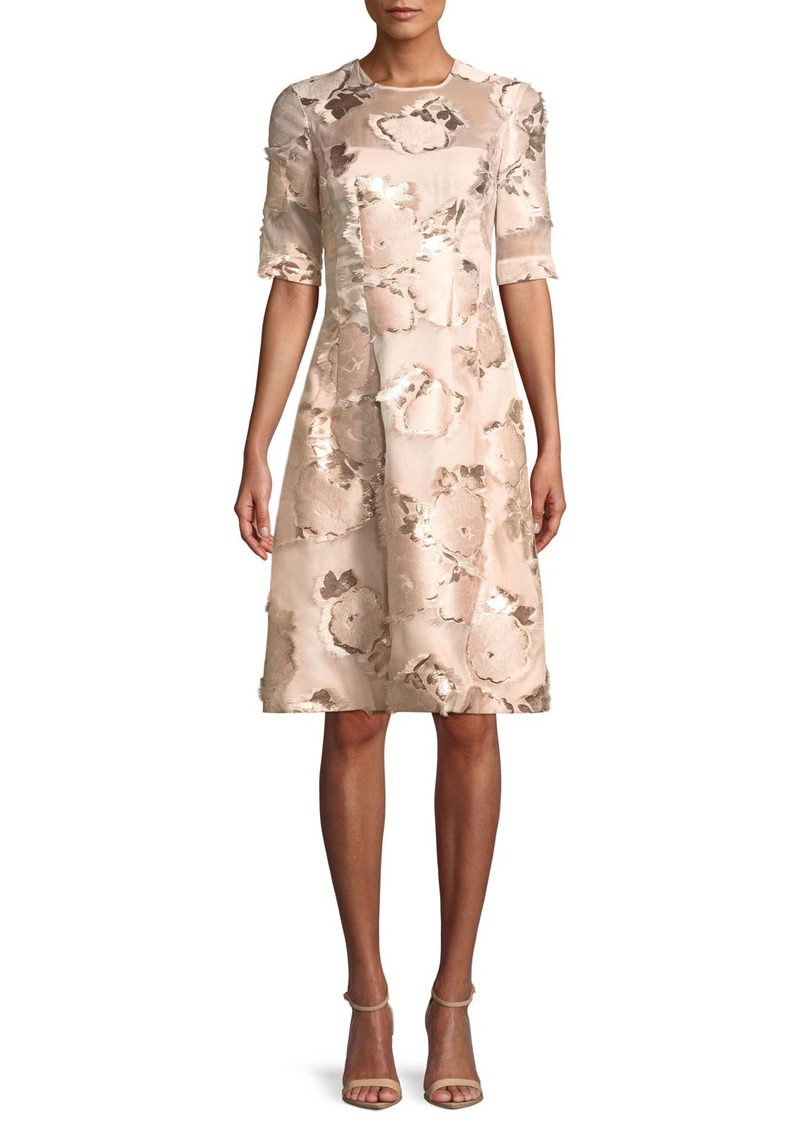 Lela Rose Holly Floral-Embroidered 1/2-Sleeve A-Line Cocktail Dress
