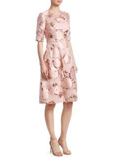 Lela Rose Holly Floral Fringe A-Line Dress