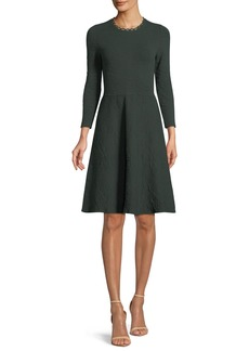 Lela Rose Jewel-Neck Long-Sleeve Fit-and-Flare Knit Jacquard Dress
