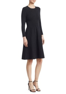 Lela Rose Knit Jacquard A-Line Dress
