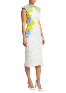 Lela Rose Lace Appliqué Fitted Sheath Dress