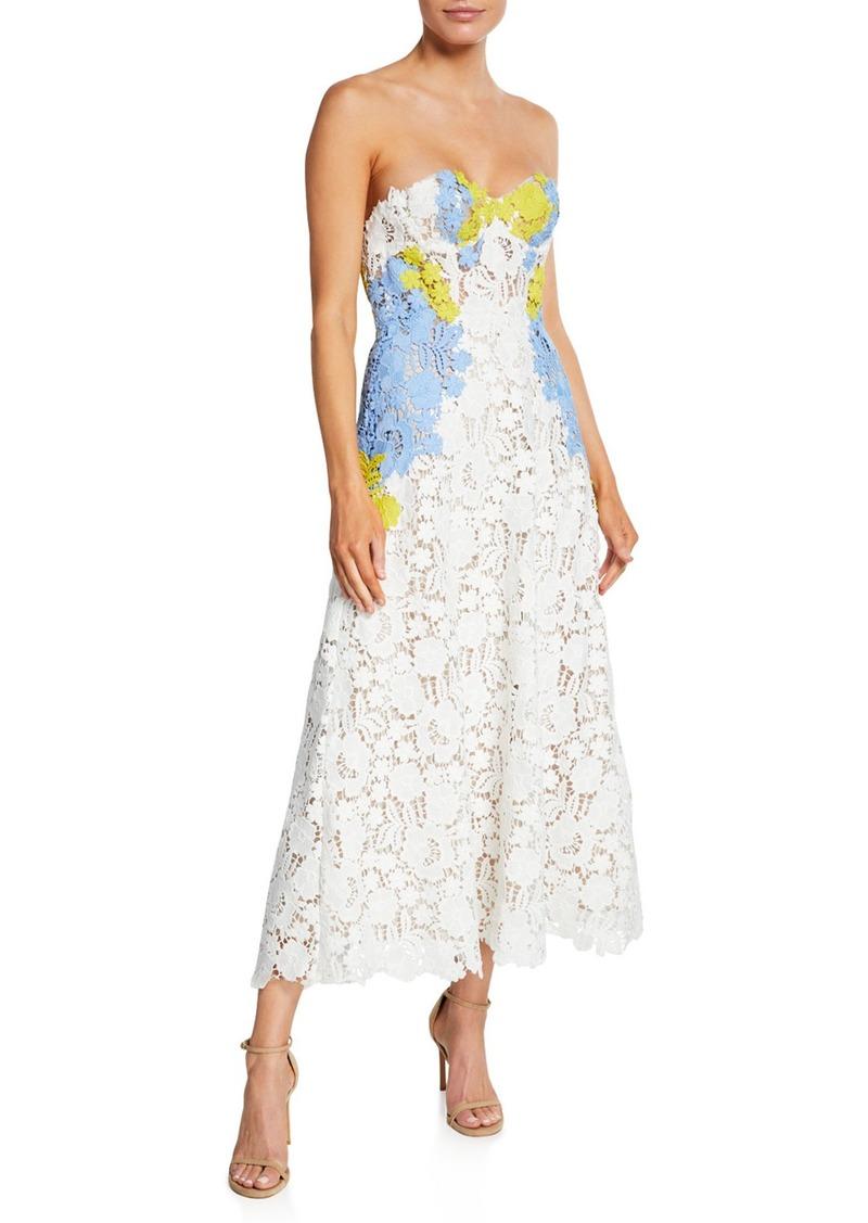 Lela Rose Lace Bustier Strapless Dress