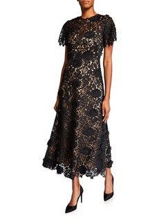 Lela Rose Lace Flutter-Sleeve Midi Dress