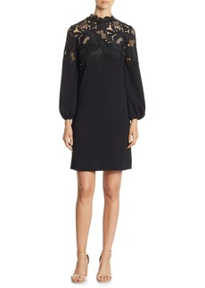 Lela Rose Lace Yoke Dress