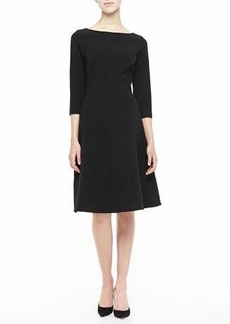 Lela Rose 3/4-Sleeve Boat-Neck A-Line Dress