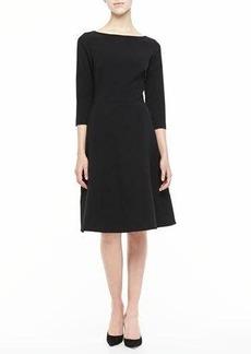 Lela Rose 3/4-Sleeve Boat-Neck A-Line Dress
