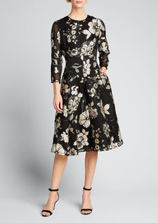 Lela Rose 3/4-Sleeve Floral Brocade Full-Skirt Dress