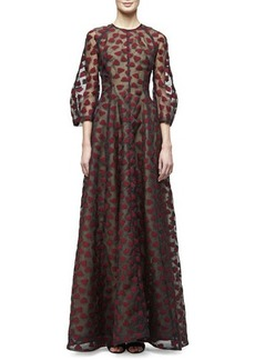 Lela Rose 3/4-Sleeve Leaf-Embroidered Gown