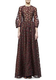 Lela Rose 3/4-Sleeve Leaf-Embroidered Gown