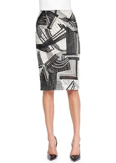 Lela Rose Abstract Embroidered Pencil Skirt