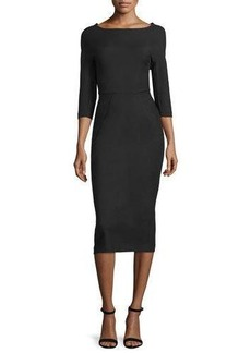 Lela Rose Audrey Elbow-Sleeve Dress