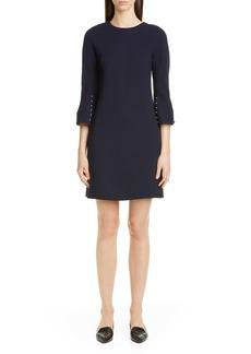 Lela Rose Bead Sleeve Stretch Wool Minidress