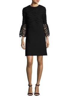 Lela Rose Bell-Sleeve Lace-Bodice Tunic Dress