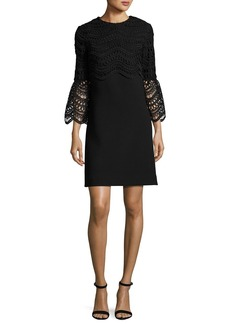 Lela Rose Bell-Sleeve Lace-Bodice Tunic Dress