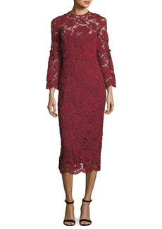 Lela Rose Bell-Sleeve Lace Sheath Dress
