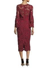 Lela Rose Bell-Sleeve Lace Sheath Dress