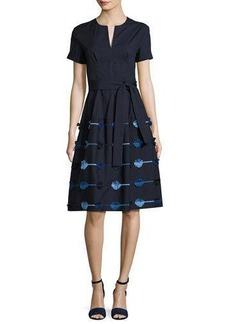 Lela Rose Belted A-Line Dress with Embroidered Skirt