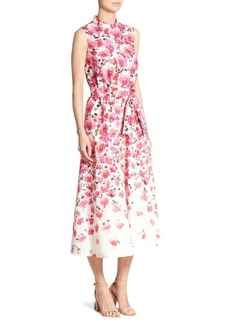 Lela Rose Belted Floral Midi Dress