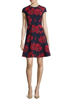 Lela Rose Blair Cap-Sleeve Floral-Print Dress