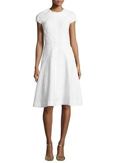 Lela Rose Blair Check-Jacquard Cap-Sleeve Dress