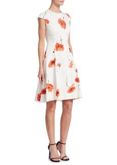 Lela Rose Blair Flower Cap Sleeve Dress