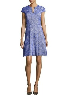 Lela Rose Blair Swirl-Jacquard Cap-Sleeve Dress