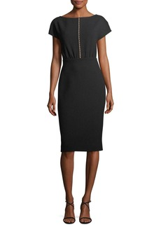 Lela Rose Blouson Pearly Beaded Sheath Dress