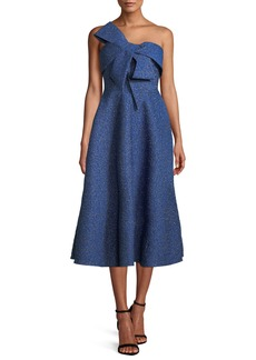 Lela Rose Bow-Front Strapless Fit-and-Flare Brocade Cocktail Dress