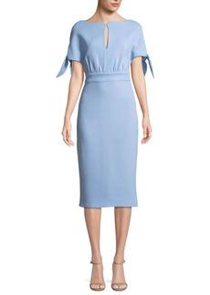 Bow-Tie Cape-Sleeve Wool-Blend Sheath Dress