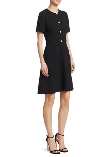 Wool Crepe Pearl-Front A-Line Dress