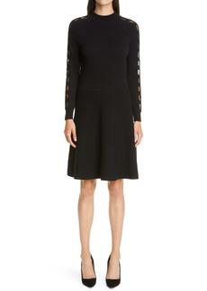 Lela Rose Braided Detail Long Sleeve Wool & Silk Sweater Dress