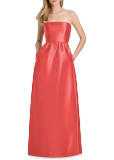 Lela Rose Bridesmaid Strapless Sateen Gown