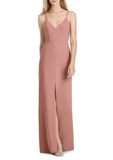 Lela Rose Bridesmaid V-Neck Crepe Mermaid Gown