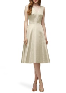 Lela Rose Bridesmaid V-Neck Metallic Fit & Flare Dress