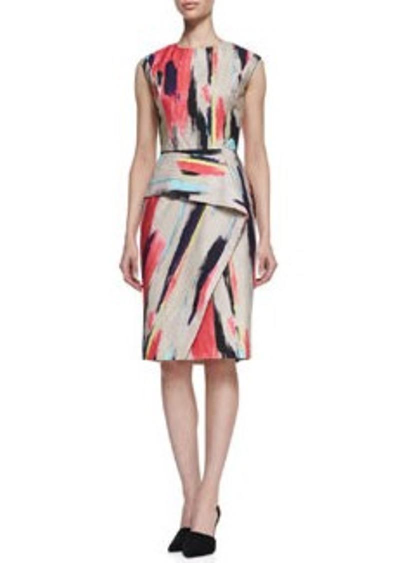 Lela Rose Brushstroke-Print Cotton Dress with Folded Skirt