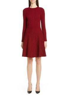 Lela Rose Button Detail Long Sleeve Textured Sweater Dress