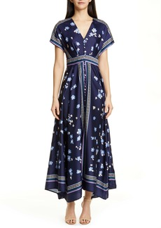 Lela Rose Button Front Handkerchief Hem Maxi Dress
