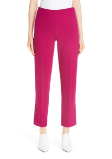 Lela Rose Button Hem Wool Blend Crepe Straight Leg Pants