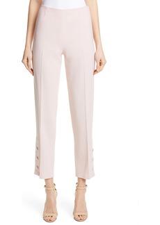Lela Rose Button Hem Wool Blend Straight Leg Pants