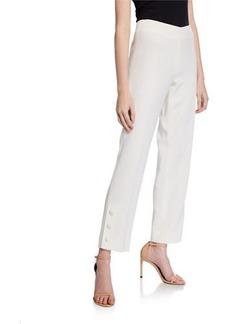 Lela Rose Button-Placket Straight-Leg Pants