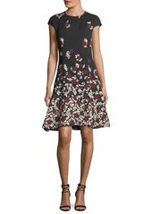 Lela Rose Cap-Sleeve Dress