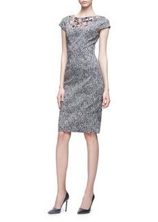 Lela Rose Cap-Sleeve Floral-Embroidered Dress