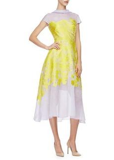 Lela Rose Cap-Sleeve Floral-Print Midi Dress