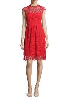 Lela Rose Cap-Sleeve Jewel-Neck Lace Dress