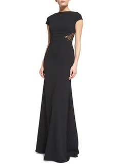 Lela Rose Cap-Sleeve Lace-Back Mermaid Gown
